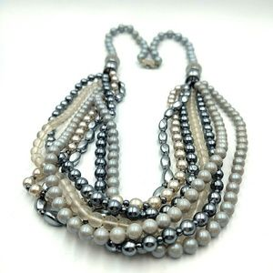 Jewelry - Gray Blue Irridescent Pearl Multi Strand Necklace